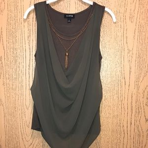 Army green flowy tank top with necklace